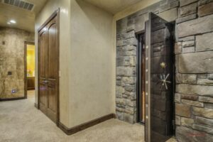 image of firearm safe in a home basement