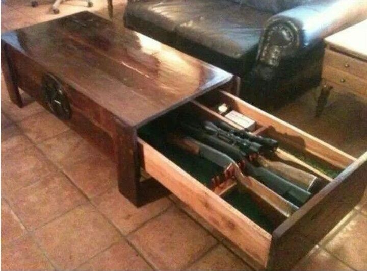 image showing an ordinary coffee table with a concealed gun safe